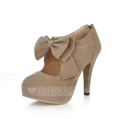 Boots - $35.99 - Suede Stiletto Heel Pumps Platform Closed Toe Ankle Boots With Bowknot Zipper shoes (088022874) http://jjshouse.com/Suede-Stiletto-Heel-Pumps-Platform-Closed-Toe-Ankle-Boots-With-Bowknot-Zipper-Shoes-088022874-g22874