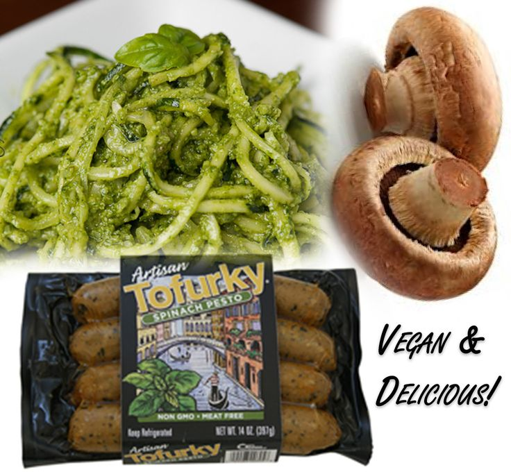 Zucchini noodles + homemade raw, vegan pesto + Artisan Tofurky Spinach ...