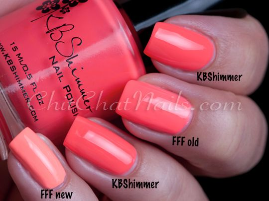 Neon Coral Nail Polish Comparison KB Shimmer: You're So Shellfish, China Glaze: Flip Flop Fantasy (original formula), China Glaze: Flip Flop Fantasy (new