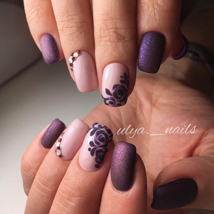 Beautiful autumn nails, Evening nails, Fall matte nails, flower nail art, Ideas of lilac nails, Medium nails, Nail designs with purple, Nails ideas 2017