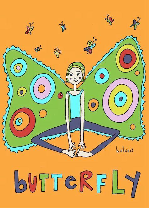 Butterfly pose, kids yoga art by Brenda Olson.