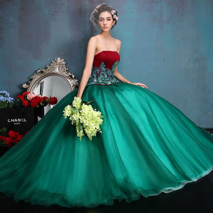 Vestido Debutante Red / Green Quinceanera Dresses Ball Gowns Sweet 16 Dresses Masquerade Ball Gowns Vestidos De 15 Anos 2016