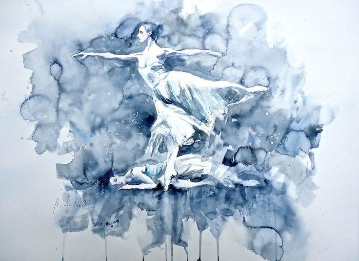 """""""Danza sull'indaco"""" Acquerello cm. 56x76"""