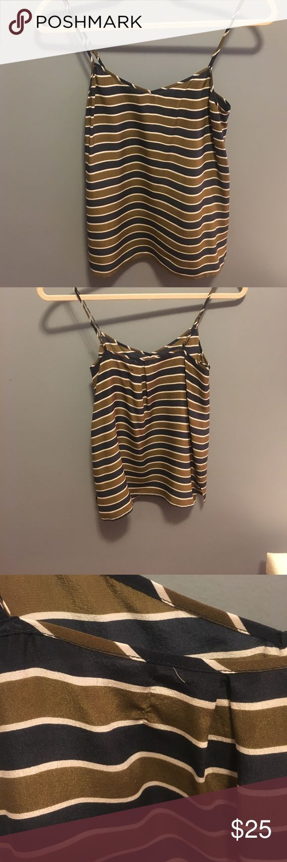 Madewell Cami - size XS Navy, olive and white silk striped cami from Madewell (Broadway & Broome brand). Size XS, adjustable straps. Slight pulling on the back where the tag attaches (I documented this in the 3rd pic). Madewell Tops