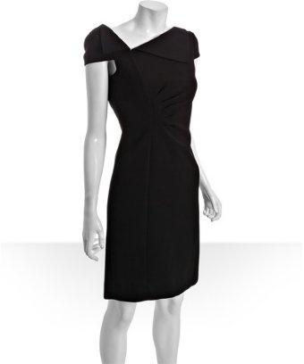 A fun take on the little black dress: Tahari ASL black woven 'Addy' folded collar dress