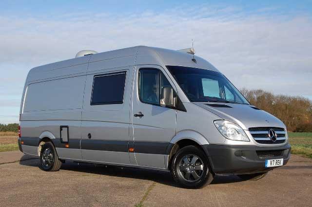 Side view of the v trek mercedes camper van built on a for Mercedes benz sprinter chassis motorhomes