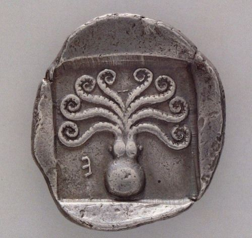 """coolartefact: """" Greek coin from Eretria, c. 500-465 BC with octopus Source: https://imgur.com/6vuAWvL """""""