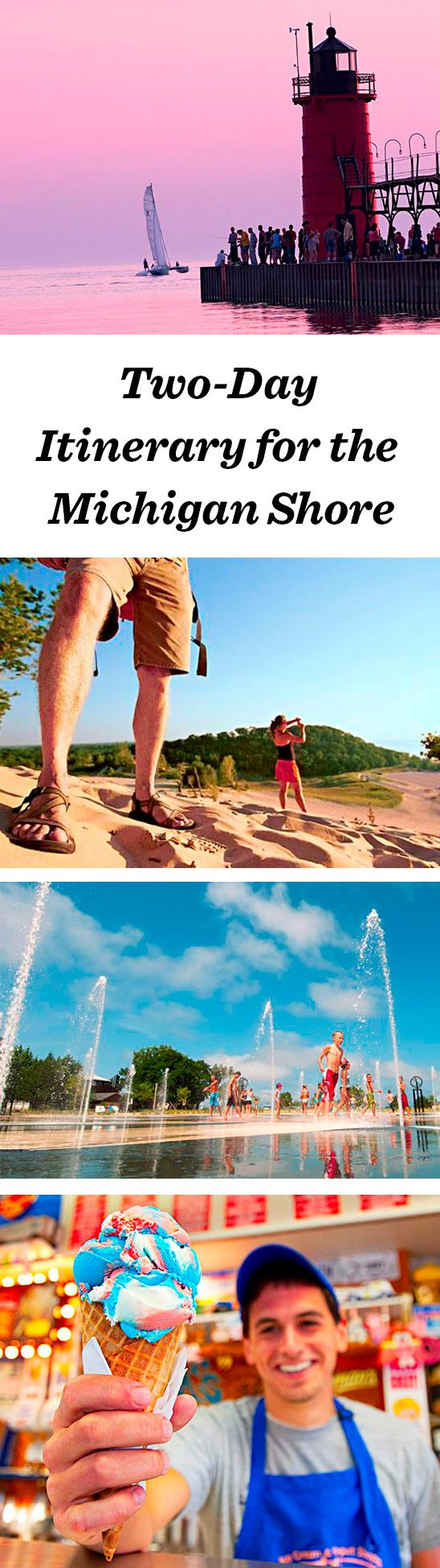 Sun, sand and sparkling water attract families to Lake Michigan's southwest shore towns between New Buffalo and Benton Harbor. Affordable weekend getaways await.  http://www.midwestliving.com/travel/michigan/two-day-getaway-on-lake-michigans-shore/