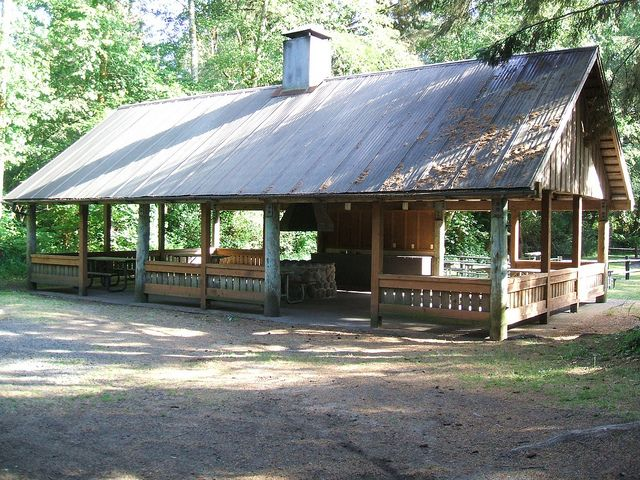 Picnic Shelter -- Built-in fire pit, storage and counter space, possibly garden shed behind shelter under same roof.