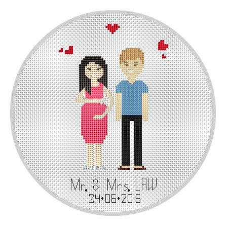 Pregnant Portrait Cross Stitch Pattern Personalised by Xrestyk