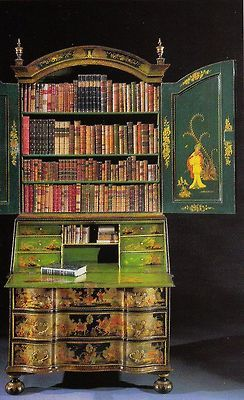 Bureau-bookcase with Japanned doors circa 1730 ~ Kentshire Gallery NYC