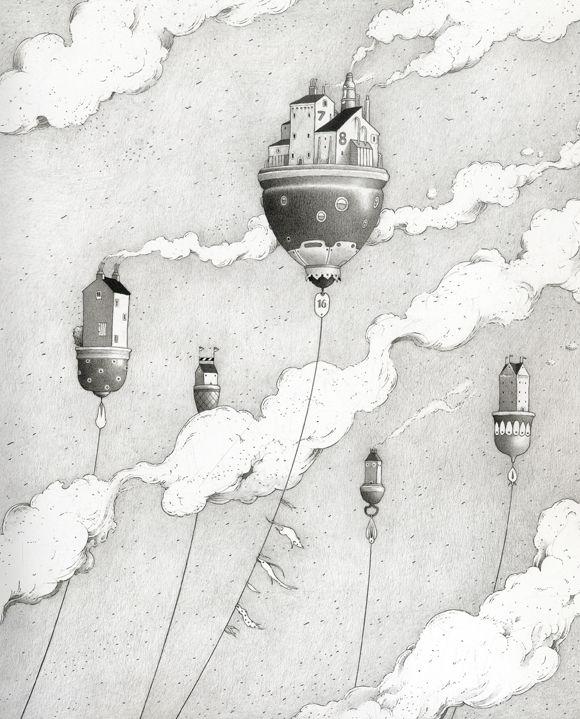 Ilustración de Einar Turkowski para su obra Cuando las casas regresaron flotando.