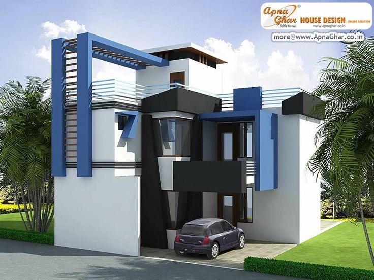 Modern duplex house exterior elevation in 90m2 10m x 09m for Zeb pilot house floor plan