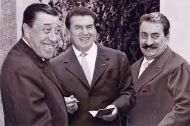 Fernandel (Don Camillo), Gino Cervi (Peppone) e Giovannino Guareschi
