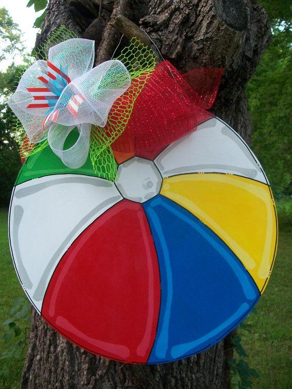 Beach Ball Door hanger Summer Door hanger by BluePickleDesigns, $45.00