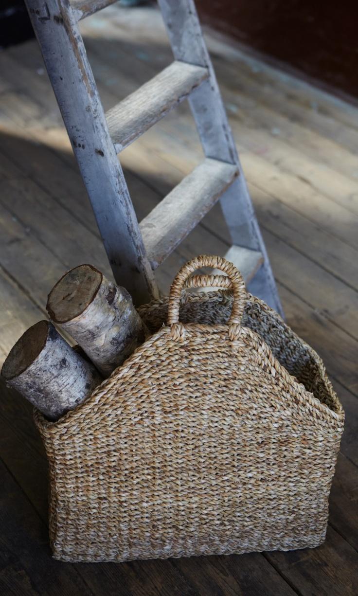 beautiful and sturdy. hogla basket for logs, kindling, newspapers