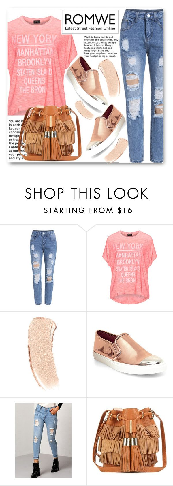 """""""Riped Jeans Romwe#2"""" by kpopmember ❤ liked on Polyvore featuring Replace, Bobbi Brown Cosmetics, Steve Madden and See by Chloé"""