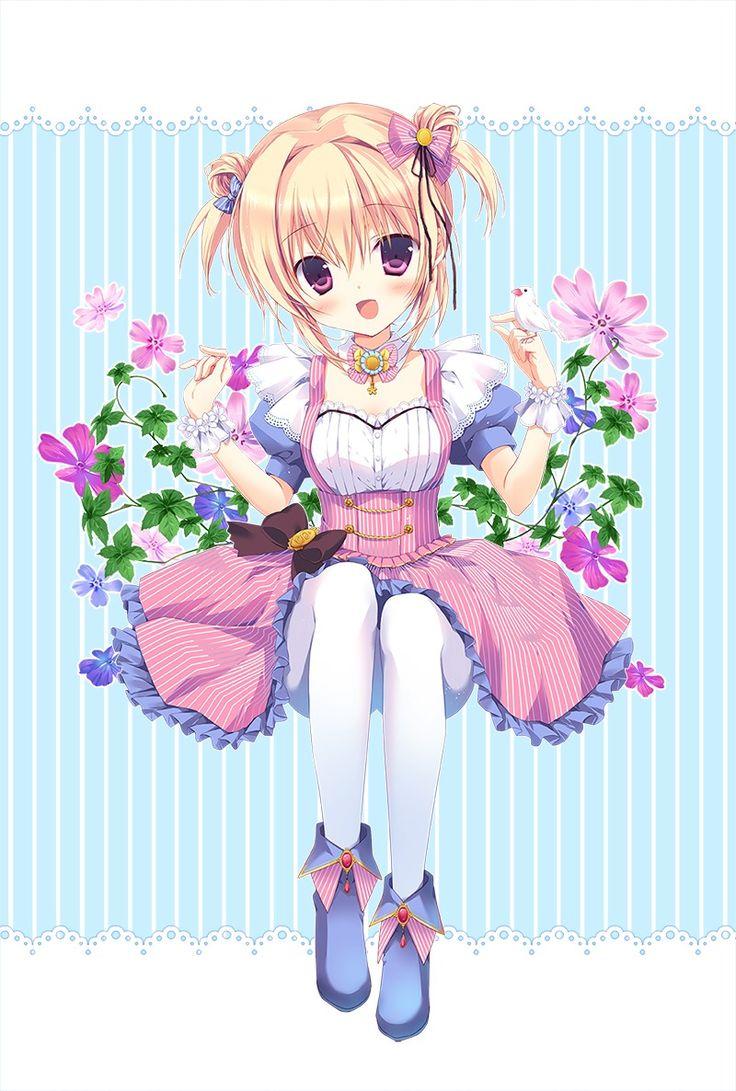 ✮ ANIME ART ✮ clothes. . .cute fashion. . .dress. . .ribbons. . .lace. . .ruffles. . .tights. . .boots. . .hair buns. . .hair ribbons. . .flowers. . .bird. . .cute. . .kawaii