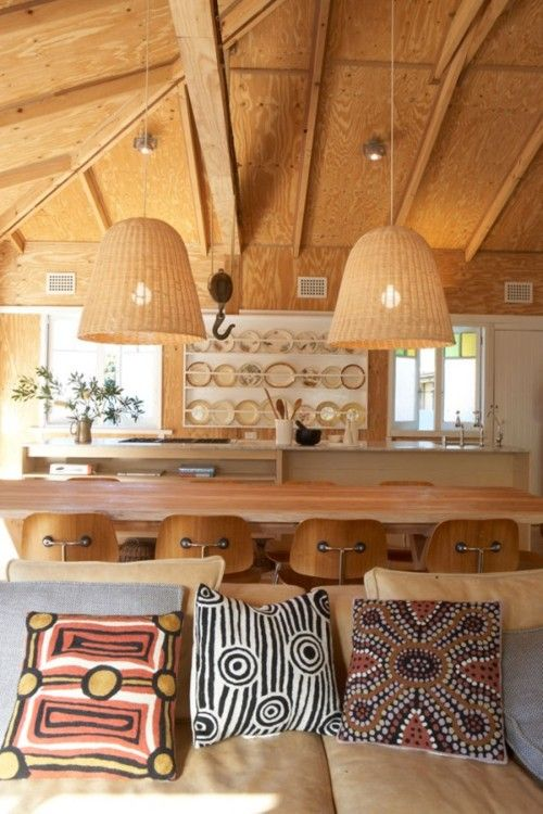 Love the ply ceiling and Aboriginal art cushions
