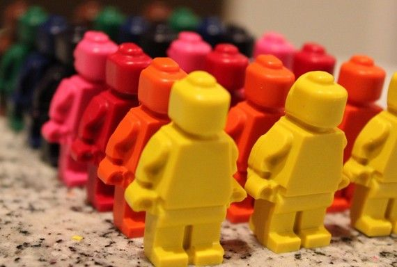 Lego Minifigure Crayons on Etsy from KoolKidKrayons made with soy and recycled crayons. Cool!