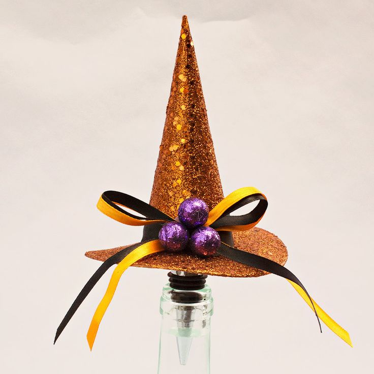 Halloween Wine Bottle Stopper, Witch Hat, Wine Bottle Stopper, Orange by WhaChaMaDoodles on Etsy