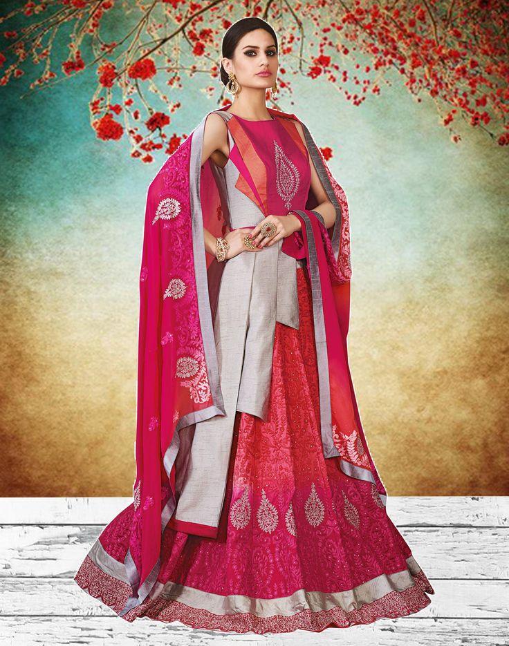 Grey & Pink Art Silk Embroidered Indo Western Lehenga