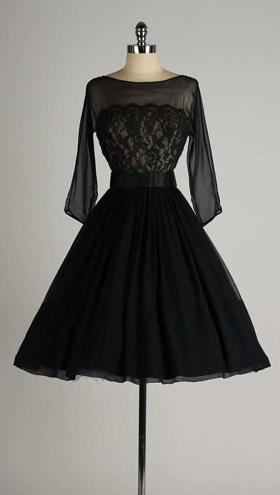vintage 1950s dress . black chiffon . lace by millstreetvintage