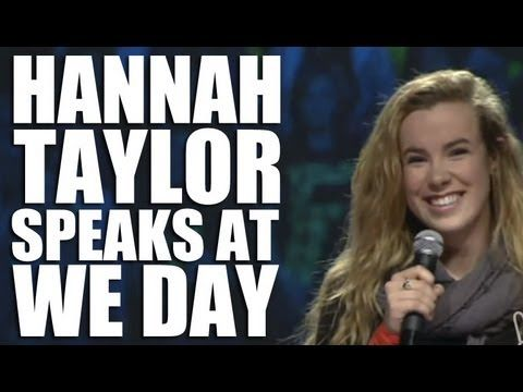 """Hannah Taylor Speaks at We Day - On stage at We Day, Hannah Taylor shares her inspiring story about the power of caring, and encourages youth to take action. In an inspiring moment, she asks her peers to stand up and shout with her: """"I care!"""""""