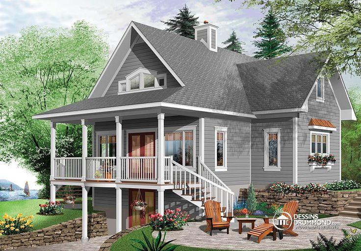Plan de Maison unifamiliale W2939-ES, plan de chalet, cottage house plan, country, champêtre, 2 bedrooms, 2 living room, 2 salons, 2 salles de séjour, mezzanine, 2 chambres, open concept