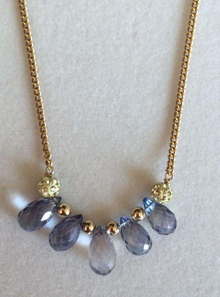 Semi-precious Iolite gemstones with Swarovski Crystal