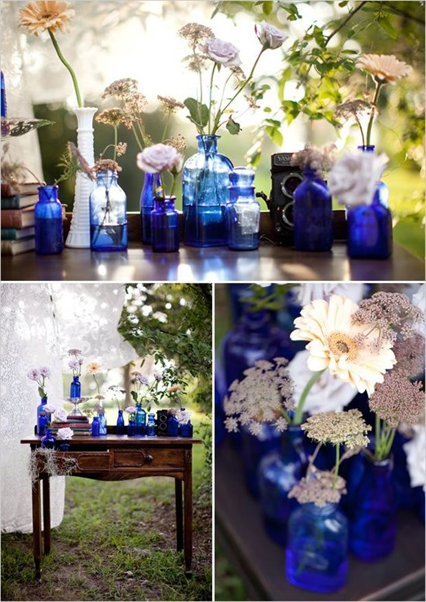 cobalt glassware wedding | image credits | cobalt blue glass bottles and containers : photography ...