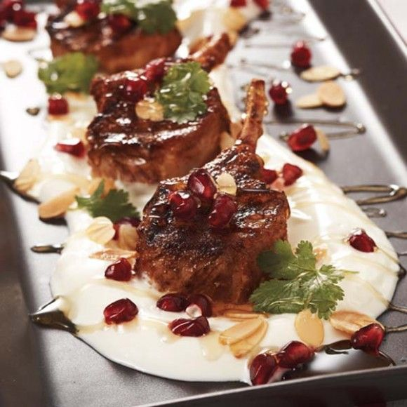 Middle Eastern Lamb Cutlets with Garlic Yoghurt, Honey and Almonds