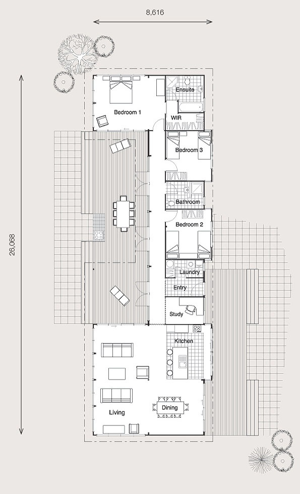 Winton Floorplan - © Lockwood 2010 - Nice, decent plan that lends itself to traditional earthship design. Love openness of main rooms. Would probably make study a little bigger.