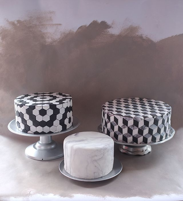 Tiled & marbled cakes.