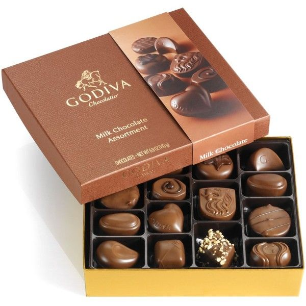 Godiva Chocolatier 15-Pc. Box of Milk Chocolates ($25) ❤ liked on Polyvore featuring home, kitchen & dining, food, food & drinks and filler