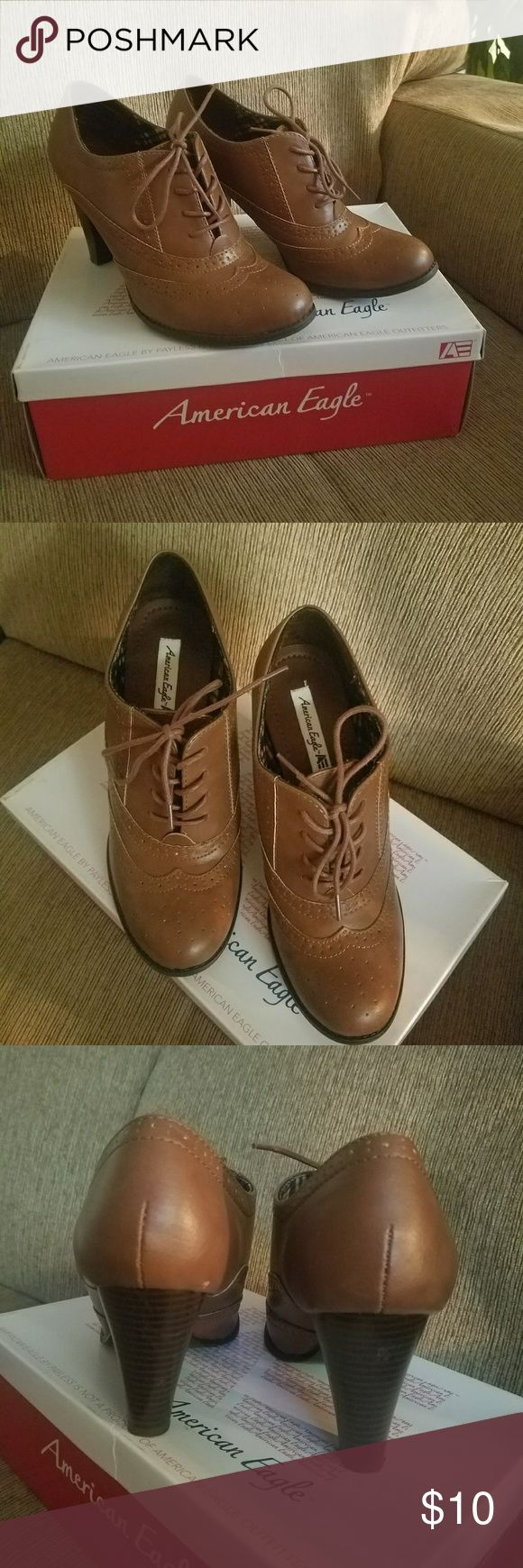 American Eagle Wingtip Heals Beautiful Cognac colored men shoe inspired Wingtip healed loafers. EUC worn once. American Eagle By Payless Shoes Heels