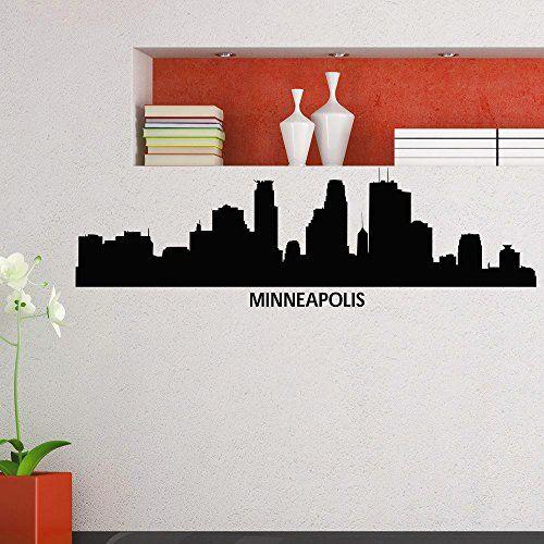 Wall decal vinyl sticker minneapolis skyline city silhouette decor sb90 minneapolis city scape