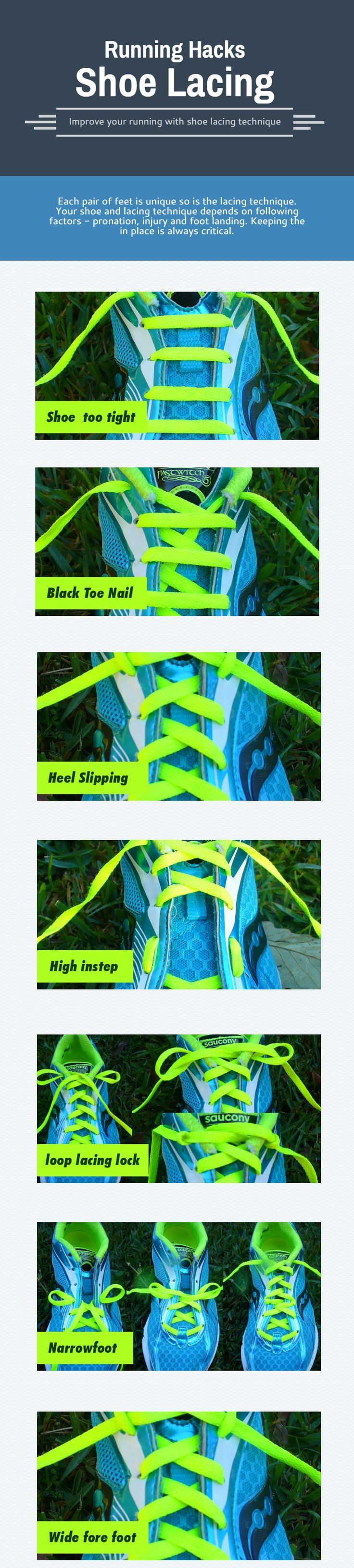 Shoe lacing Technique - Each pair of feet is unique so is the lacing technique. Your shoe and lacing technique depends on following factors - pronation, injury and foot landing. Keeping the in place is always critical.