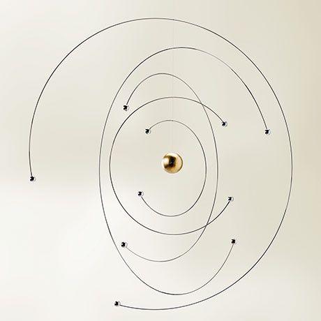 Niels Bohr Atom Mobile by Flensted Mobiles | MONOQI #bestofdesign | Origin Denmark | Material Beech Wood, Stainless Steel