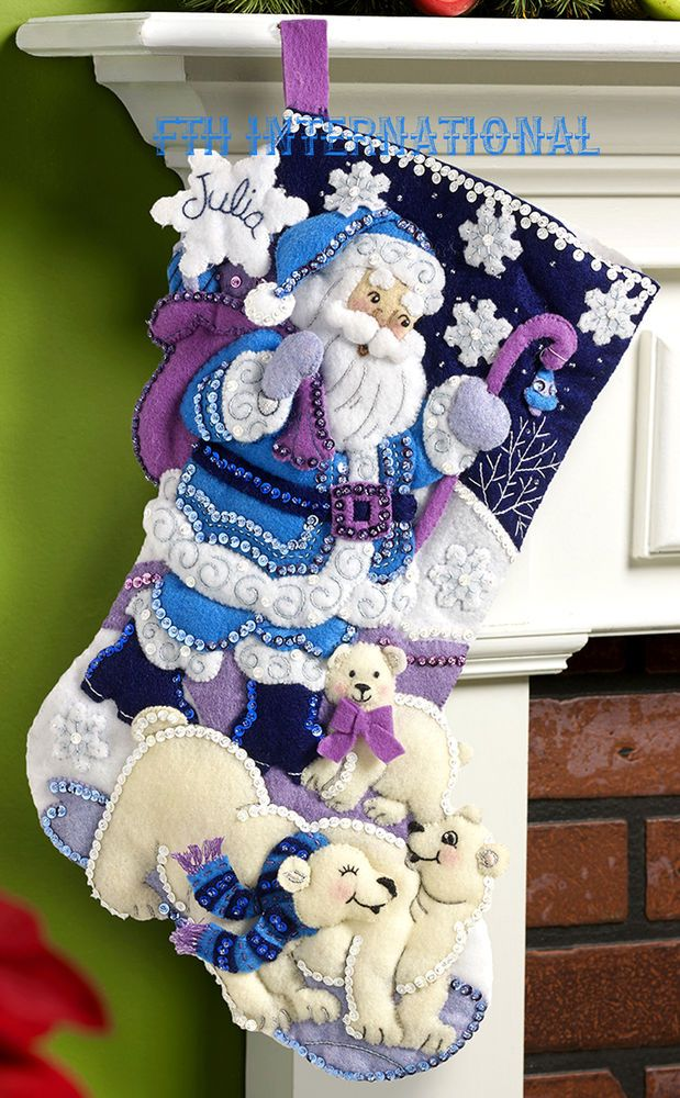 "Bucilla Arctic Santa ~ 18"" Felt Christmas Stocking Kit #86653 Polar Bears, Blue #Bucilla #Stockingkit"