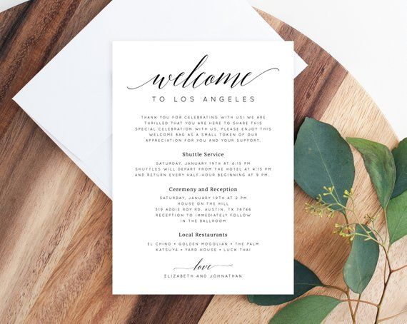 Welcome Letter Template Wedding Itinerary Card Welcome Bag Etsy Wedding Itinerary Wedding Agenda Welcome Letters