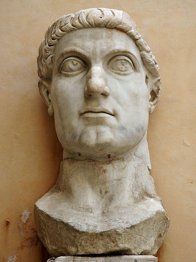 Emperor Constantine, head of (colossal) Roman statue (marble), 4th century AD, (Palazzo dei Conservatori, Rome).