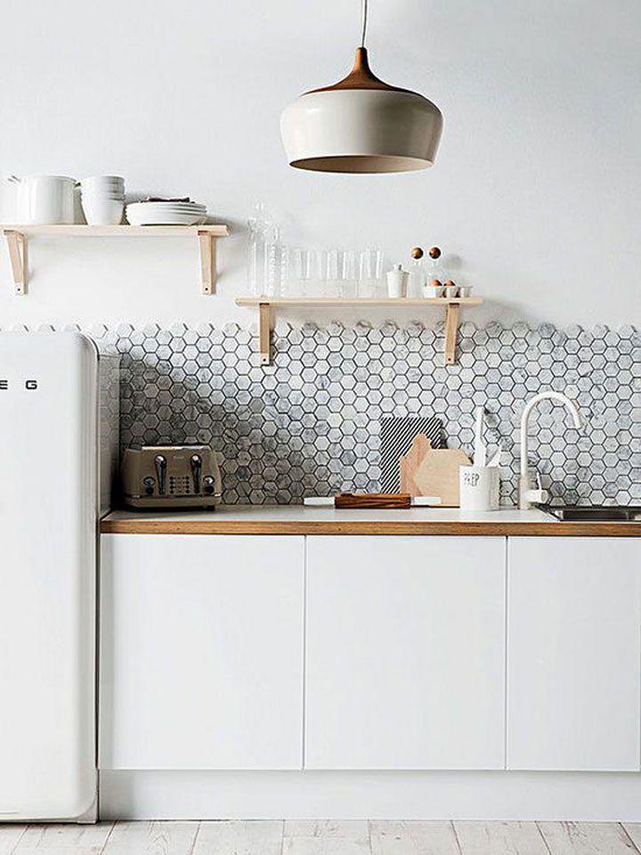 honingraat tegels in de keuken