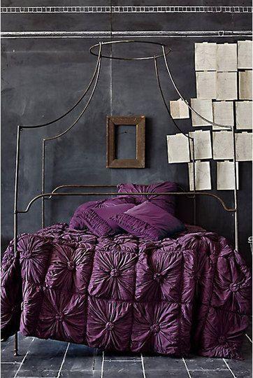Dark space: Purple Beds, Dreams, Beds Spreads, Colors, Bedspreads, Beds Frames, Canopies Beds, Purple Bedrooms, Chalkboards Wall