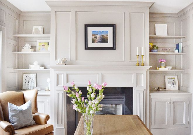 Gorgeous panelling and built-in detailing painted in the perfect warm grey - Benjamin Moore Stonington Gray