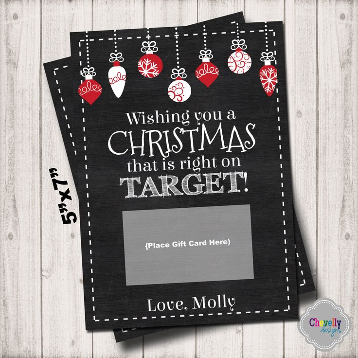 Target Christmas Gift Card Printable - XMAS004 - Target, Christmas, gift card, teacher, student, co-worker, boss, gift idea by ChevellyDesigns on Etsy