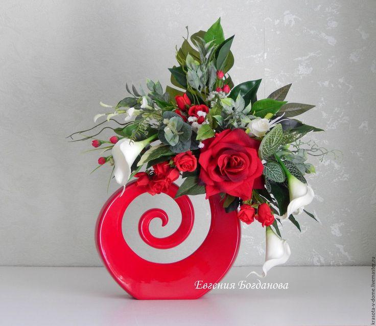 Купить Интерьерная композиция в вазе- спирали. Цветочная композиция. - ярко-красный, ваза, интерьерная композиция