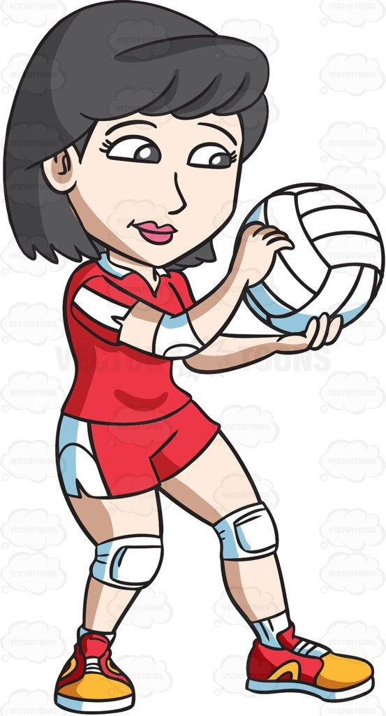 A female volleyball player gets ready to serve #cartoon #clipart #vector #vectortoons #stockimage #stockart #art