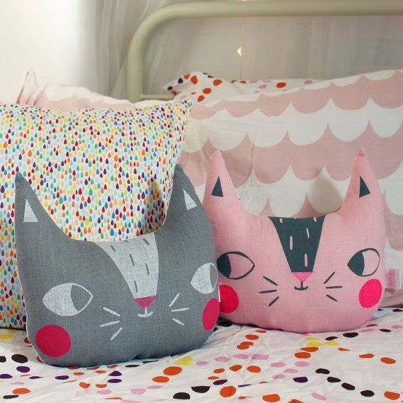 Part of my Confetti Cats collection, this fun cat cushion has been screen printed by hand onto soft 100% linen and backed with my 100% cotton sprinkles fabric.  Available in grey or pink.  A great addition to any bedroom for the young, or young at heart!  Approx 25cm tall by 27cm wide