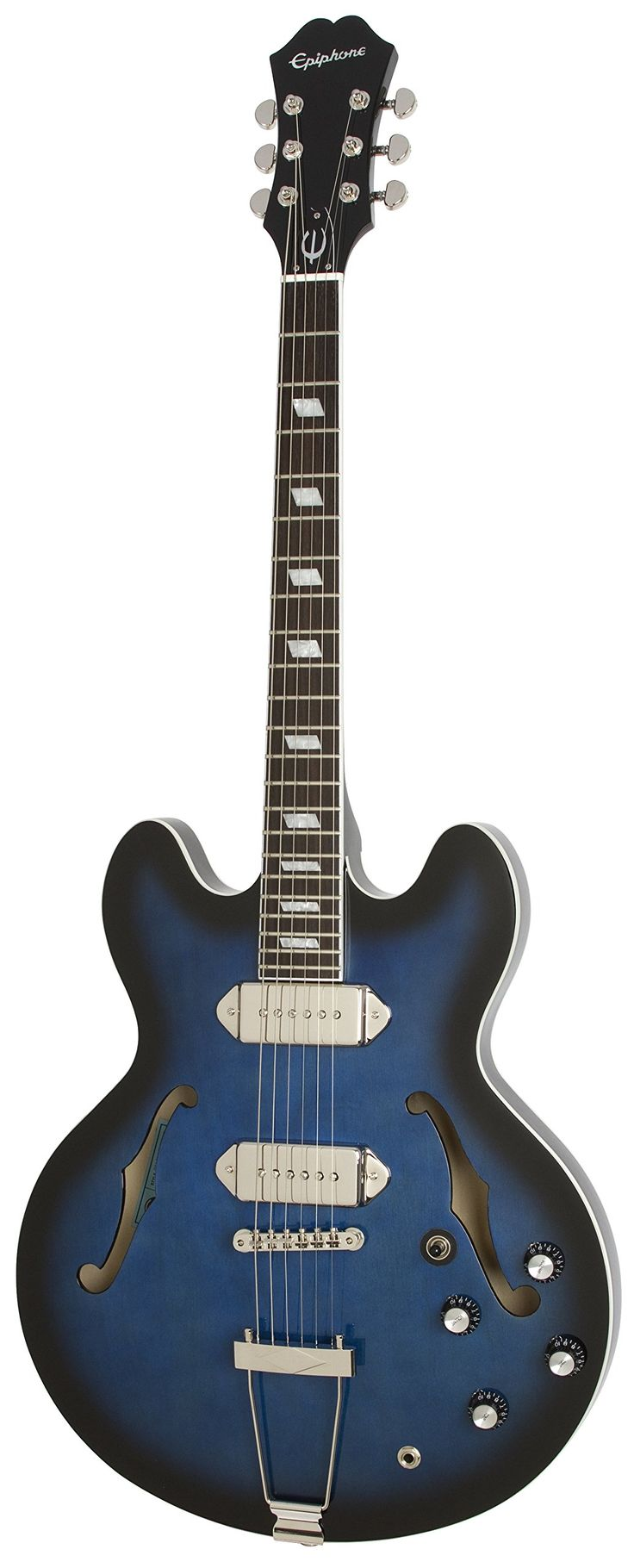 """Epiphone Limited Edition Gary Clark Jr. Casino Electric Guitar, Black/Blue. Gary Clark Jr Casino has a laminated 5-ply Maple/Birch body and Mahogany neck with a '60s Slim Taper D Profile set neck with a Rosewood fingerboard and Parallelogram inlays. This guitar is loaded with Gibson USA P-90T and P-90R pickups and black """"Top Hats"""" volume and tone control knobs. Now, Clark has joined with Epiphone to commemorate his debute major label album, Black & Blue, with a classic Casino design..."""